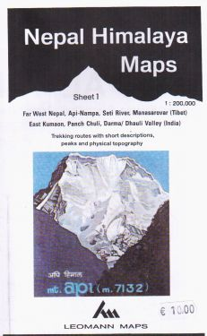 Area Tibetana di Far West Nepal, Api-Nampa, Seti River, Manasarovar e Indiana di East Kumaon, Panch Chuli, Darma/Dhauli Valley  sheet 1 - 1:200.000