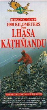 Biking map from Lhasa to Kathmandu 1:400.000