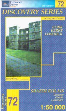 Cork, Kerry e Limerick contee - Mullaghareirk Mountains f.72 1:50.000