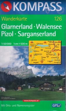 Glarnerland, Walensee, Pizol, Sarganserland 1:50.000