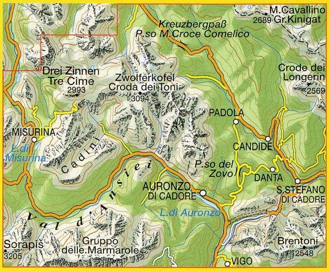 Cartina Geografica Dolomiti.Dolomiti Di Auronzo E Del Comelico 1 25 000
