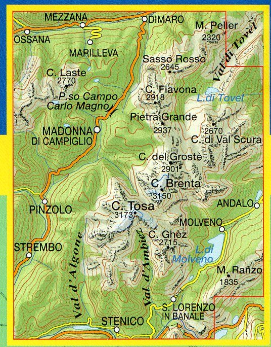 Cartina Geografica Dolomiti.Dolomiti Di Brenta 1 25 000