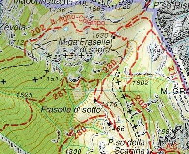Cartina Geografica Dolomiti.Piccole Dolomiti Pasubio 1 25 000