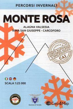 Carta scialpinistica Monte Rosa, Alagna Valsesia, Rima San Giuseppe, Carcoforo 1:25.000