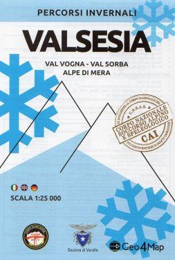 Carta scialpinistica Valsesia, Val Vogna, Val Sorba, Alpe di Mera 1:25.000