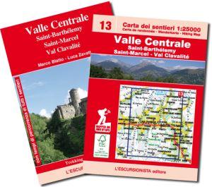 13 - Valle Centrale, Saint-Barthélemy, Saint-Marcel - Val Clavalité carta dei sentieri 1:25.000