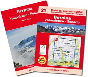 21 - Bernina, Valmalenco, Sondrio carta dei sentieri e scialpinistica 1:25.000