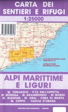 Alpi Marittime e Liguri, valli Roia, Nervia, Crosia, Argentina, del Prino 1:25.000